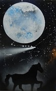 Spray Paintings - Night Horse by Sue Woods