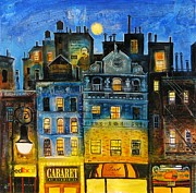 Wine Country. Mixed Media Framed Prints - Night in New York Framed Print by Mikhail Zarovny
