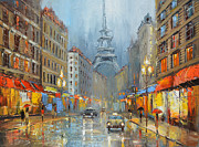 Crosswalk Painting Posters - Night in Paris Poster by Dmitry Spiros