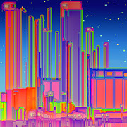 Metropolis Prints - Night in the City Print by Wendy J St Christopher