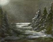 Moonlight Paintings - Night in the Pines by Carol Sweetwood