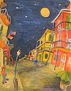 Night Lamp Paintings - Night in the Quarter by Joan Landry