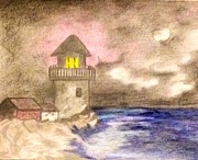 Lighthouse Drawings - Night light house by Bradley Warner