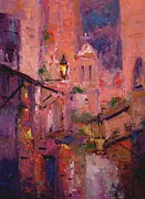 Night Lamp Painting Originals - Night light in Monemvasia by R W Goetting