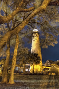 Piers Prints - Night Lighthouse Print by Debra and Dave Vanderlaan