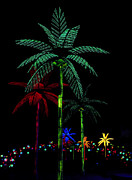 Abstract Palm Trees Prints - Night Lights Electric Palm Trees Print by Karon Melillo DeVega