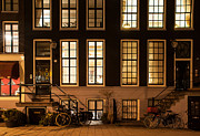 Romantic Night Prints - Night Lights in Amsterdam. Holland Print by Jenny Rainbow
