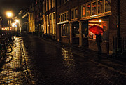 Night Scene Prints - Night Lights of Utrecht. Orange Umbrella. Netherlands Print by Jenny Rainbow