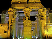 West Africa Digital Art - Night Lights on Kom Ombo Temple by Ruth Hager