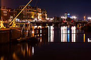 Nederland Photo Prints - Night Lights on the Amsterdam Canals 2. Holland Print by Jenny Rainbow