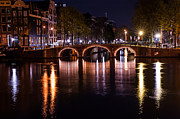 Night Scene Prints - Night Lights on the Amsterdam Canals 4. Holland Print by Jenny Rainbow