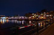 Night Lights On The Amsterdam Canals 5. Holland Print by Jenny Rainbow