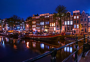 Romantic Night Prints - Night Lights on the Amsterdam Canals. Holland Print by Jenny Rainbow