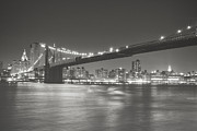 Black And White New York City Prints - Night - New York City - Brooklyn Bridge Print by Vivienne Gucwa