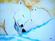 Bear Mixed Media Posters - Night Night Poster by Debi Pople