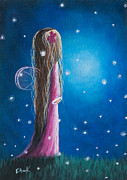 Long Hair Paintings - Night Of 50 Wishes Fairy Print by Shawna Erback by Shawna Erback