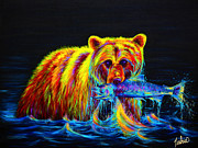 Grizzly Bear Paintings - Night of the Grizzly by Teshia Art