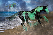 Sea Moon Full Moon Digital Art Posters - Night of the Horse Poster by Betsy A Cutler East Coast Barrier Islands