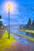 Night Lamp Digital Art Framed Prints - Night On The Caledonian Canal Framed Print by Mark E Tisdale