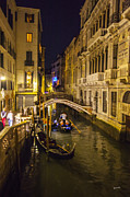 Gondolier Photo Framed Prints - Night on the Canal - Venice - Italy Framed Print by Madeline Ellis