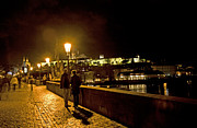 Lamplight Posters - Night On The Charles Bridge Poster by Madeline Ellis