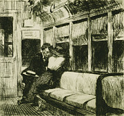 Transportation Drawings Metal Prints - Night on the El Train Metal Print by Edward Hopper