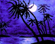 Moonlit Night Prints - Night on the Islands Painterly Brushstrokes Print by Barbara Griffin
