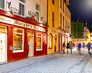 Murphy Prints - Night Out at Murphys Bar in Galway Print by Mark E Tisdale