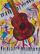 Acoustic Guitar Painting Originals - Night Out by Robin Hillman