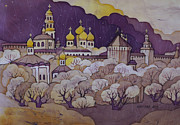 Orthodoxy Prints - night over Posad Print by Khromykh Natalia