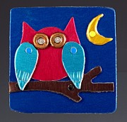 Whimsical Jewelry Framed Prints - Night Owl Framed Print by Barbara Lager