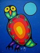 Colorful Owl Paintings - Night Owl by Jim Oskineegish