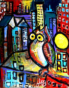 Jon Baldwin Art Paintings - Night Owl  by Jon Baldwin  Art