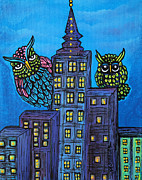 Flying Bird Paintings - Night Owls by Laura Barbosa
