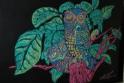 Owls Drawings - Night Owls by Lorinda Fore