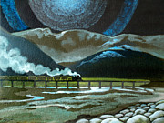 Steam Metal Prints - Night Passage - WW480 Steam Metal Print by Patricia Howitt