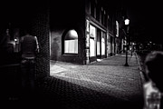 Moody Street Framed Prints - Night People Main Street Framed Print by Bob Orsillo