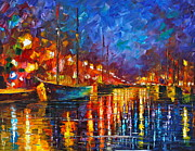 Canal Painting Originals - Night Port by Leonid Afremov