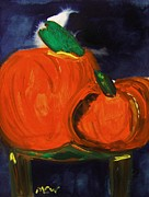 Williams Mixed Media Posters - Night Pumpkins Poster by Mary Carol Williams