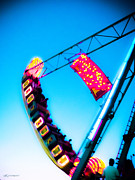 Amusement Rides Posters - Night Ride Poster by Colleen Kammerer