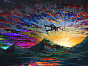 Surfer Art Art - Night Ride by Teshia Art