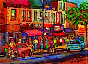 Fast Food Joints Prints - Night Riders On The Boulevard Rue St Laurent And Napoleon Deli Schwartz Montreal Midnight City Scene Print by Carole Spandau