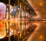 Pier Digital Art - Night Run III Patriotic  by Betsy A Cutler East Coast Barrier Islands