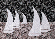 Transportation Tapestries - Textiles Metal Prints - Night Sail Metal Print by Jean Baardsen