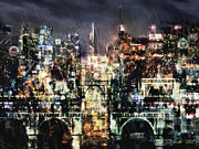 Gotham City Digital Art - Night-Scape by Stefano Popovski
