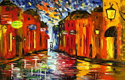 Rainy Street Painting Framed Prints - Night scent Framed Print by Mariana Stauffer