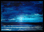 Contemporary Night Scape Prints - Night Sea Print by Cathy Peterson