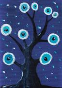Fantasy Tree Art Drawings Prints - Night Sentry Print by Anastasiya Malakhova