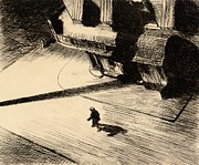 City Street Paintings - Night Shadows by Edward Hopper