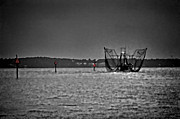 Michael Thomas Framed Prints - Night Shrimping in BW and Color Framed Print by Michael Thomas